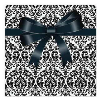 Black Damask Bow Black Tie Party Event Template