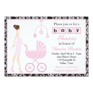 Black Damask Brunette Expecting Girl Baby Shower Card