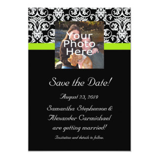 Black Damask Chartreuse Green Photo Save the Date Card