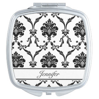 Black Damask Compact Mirror with Custom Name