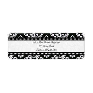 Black Damask Customizable Address Labels