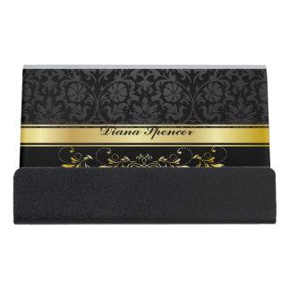 Black Damask Desk Business Card Holder