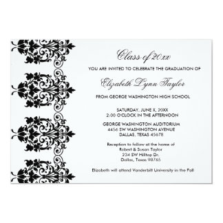 Black Damask Edge White Graduation Announcement