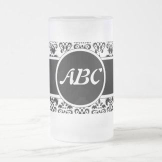 Black Damask Frosted Glass Mug