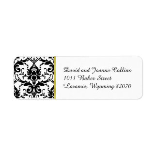 Black Damask Gold Return Address Return Address Label