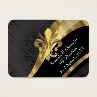 Black damask, gold wedding favour thank you tag