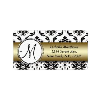 Black Damask Gold Wedding RSVP Return Address Address Label