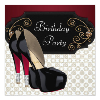 "Black Damask High Heel Shoes Birthday Party 5.25"" Square Invitation Card"