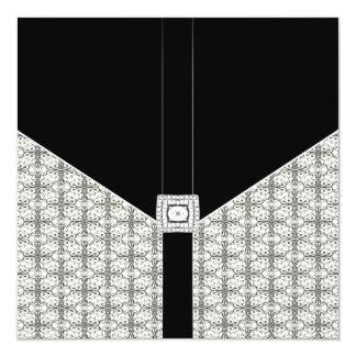 Black Damask Lace Diamond Wedding Invitations