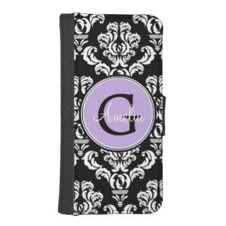 Black Damask Lavender Monogram Wallet Phone Case