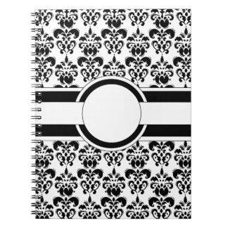 Black damask & monogram spiral notebook