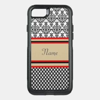 Black Damask Monogram OtterBox Commuter iPhone 8/7 Case