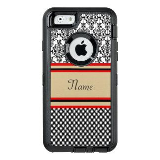 Black Damask Monogram OtterBox Defender iPhone Case