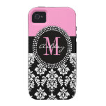 Black Damask Monogram Pink Vibe iPhone 4 Case