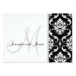 Black Damask Monogram Wedding Invitations 13 Cm X 18 Cm Invitation Card