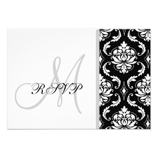Black Damask Monogram Wedding RSVP Custom Announcement