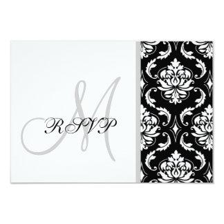 "Black Damask Monogram Wedding RSVP 3.5"" X 5"" Invitation Card"
