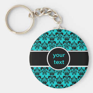 black damask on any color basic round button key ring