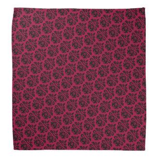Black damask on burgundy red bandannas