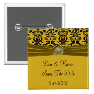 Black Damask On Gold Save The Date 15 Cm Square Badge