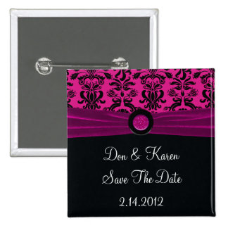 Black Damask On Magenta Save The Date 15 Cm Square Badge