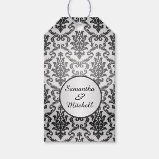 Black damask on silver gray Wedding Thank You Gift Tags