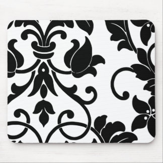 Black Damask on White Mouse Pad