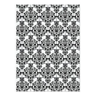 Black Damask Pattern 1 Vintage Floral Custom Invite
