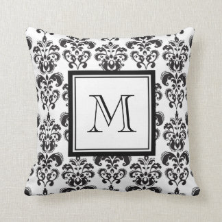 Black Damask Pattern 2 with Your Monogram Cushions