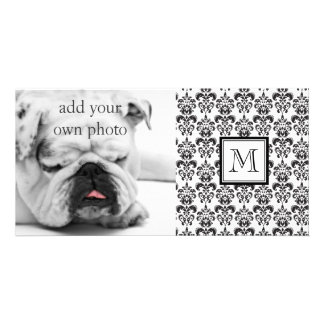 Black Damask Pattern 2 with Your Monogram Customized Photo Card