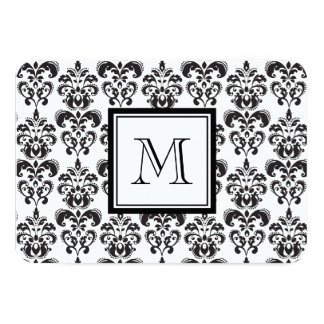 "Black Damask Pattern 2 with Your Monogram 3.5"" X 5"" Invitation Card"