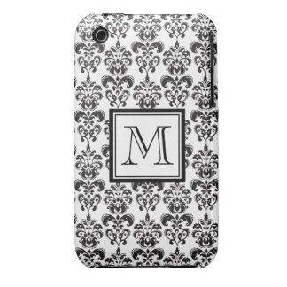 Black Damask Pattern 2 with Your Monogram iPhone 3 Case-Mate Cases