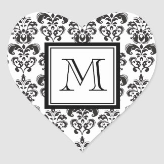 Black Damask Pattern 2 with Your Monogram Heart Sticker