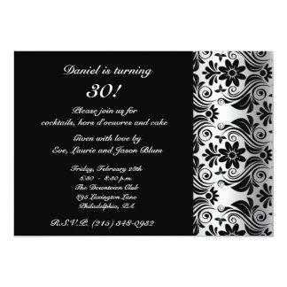 Black damask pattern card 13 cm x 18 cm invitation card