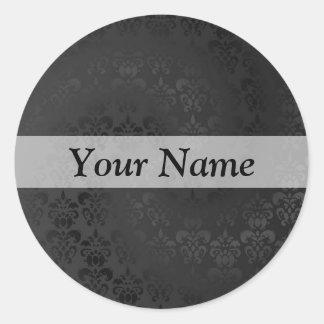 Black damask pattern classic round sticker