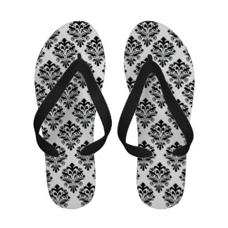 Black Damask Pattern Sandals