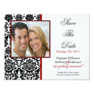 """Black Damask Photo Save The Date Announcement 4.25"""" X 5.5"""" Invitation Card"""