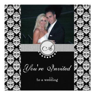 Black Damask Photo Wedding Invitation
