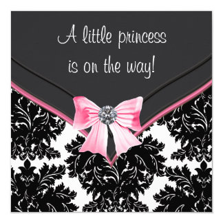 Black Damask Pink Bow Princess Baby Shower Card