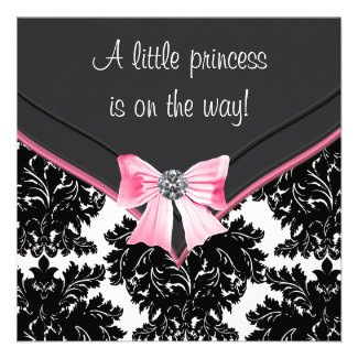 Black Damask Pink Bow Princess Baby Shower Personalized Invitation
