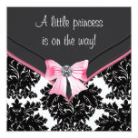 Black Damask Pink Bow Princess Baby Shower Announcements