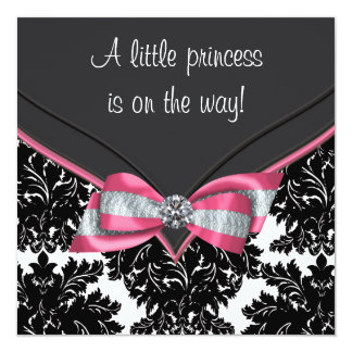 Black Damask Pink Bow Princess Baby Shower 13 Cm X 13 Cm Square Invitation Card