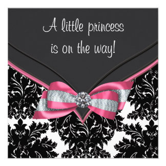 Black Damask Pink Bow Princess Baby Shower Invite