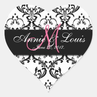 Black Damask Pink Initial Wedding Favor Heart Sticker