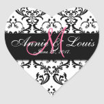 Black Damask Pink Initial Wedding Favor Heart Stickers