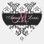Black Damask Pink Initial Wedding Favor Heart Stickers