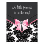 Black Damask Pink Princess Baby Shower Custom Invitation