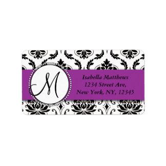 Black Damask Purple Wedding RSVP Return Address Address Label