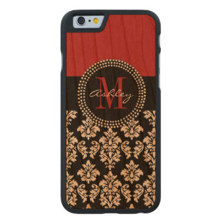 Black Damask Red Initial Name Carved Cherry iPhone 6 Case