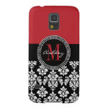 Black Damask Red Initial Name Galaxy S5 Cases